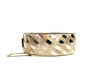 Vintage Plaid Print Bangle Bracelet   Goldtone Metal Bracelet   Silvertone Metal Bracelet