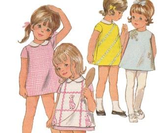 Uncut Vintage 1960s Girls' A-Line Mod Mini Dress Sewing Pattern - Butterick 5669 - Size 3 - Breast 22
