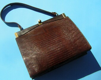 Vintage Purse Handbag 1950s Lizard Skin Reptile Leather Super Classy Shape & Color by Mayer New York