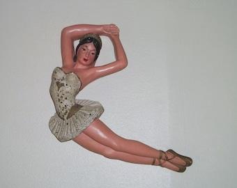 Vintage 50s Chalkware Ballerina Universal Statuary Dated 1954