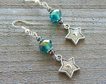 Silver Star Earrings Embossed Goddess Crescent Moons Deep Green Crystal Beads Sterling Silver Earwires