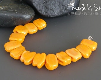 12 spacer beads | 11x9 mm | Ready To Ship | handmade lampwork beads set  |  LITTLE TOOTHIES - MANDARIN  |  made by Silke Buechler