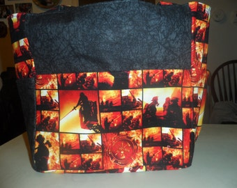 firefighter fire orange black tote bag/purse/diaper bag