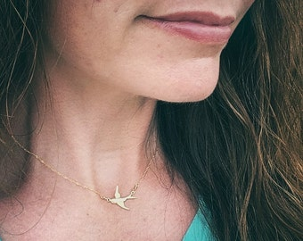 The Sparrow - Delicate Brass/Gold Bird Necklace