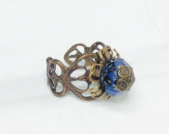 osO SARA Oso Montana blue glass brass ring