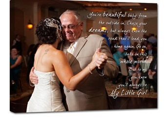 Holiday Gift For Dad Father  Personalized Wedding Pictures Gift Photo Collage Canvas Words Text Quote Sayings