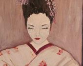 Geisha, print, asian, art, woman, red