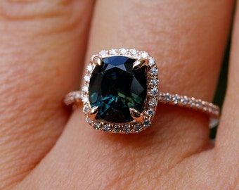 Rose Gold Engagement ring. Green Sapphire ring. 2.27ct cushion sapphire 14k RG diamond ring.