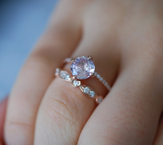 Rose gold engagement ring Round blush sapphire diamond