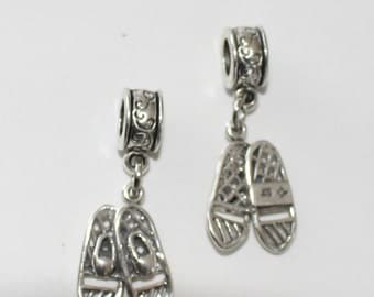 Sterling 3D SNOWSHOES Bead Charm for  All Name Brand Add a Bead Charm Bracelets - Sports
