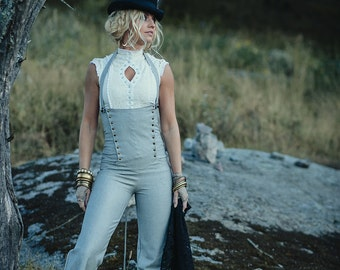 MAHOGANY STEAMPUNK PANTS - Sailor Hippie Boho Steam punk Burning man Burlesque Organic High waist Trousers Suspender Halloween - Grey