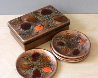 Mid century California Cloisonne set. Box and 5 trinket  dishes. Landau and Associates, Los Angeles