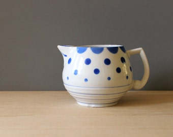 Vintage 1930s Erphila creamer, Czechoslovakia. Bohemian porcelain with blue polka dots.