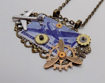 Steampunk pendant. Steampunk airplane necklace.Stamp pendant