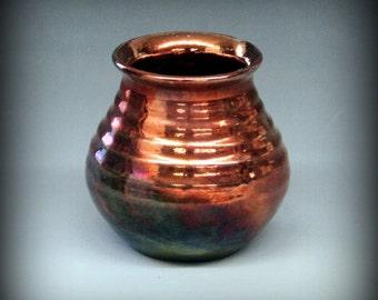 Raku Pot in Glossy Copper Metallic