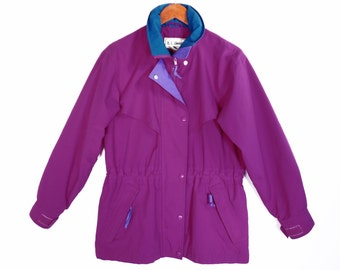 80's L.L. BEAN purple jacket // color block // vintage ski jacket shell // Gore-Tex lined // women's size S