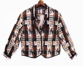 90's TAPESTRY cropped jacket // southwest bolero jacket // short blazer jacket // women's S M