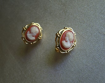 Vintage Classic Trifari Cameo Earrings