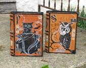 RESERVED for scheetz5 Set of Medium Vintage Paper Mache Halloween Witch's Books Owls