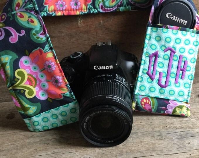 Custom Patchwork Camera Strap Cover with Monogram