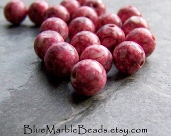Reserved for Toni, Glass Beads, Round Beads, Speckled Bead, Pink Beads, Rustic Beads, Organic Beads, Tribal Beads, Boho Beads, 8mm, 20 Beads