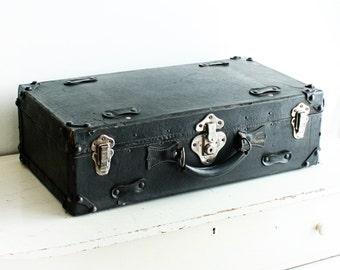 Vintage trunk - luggage - case - suitcase - hardside - black trunk - stacking - photo prop - Samson - Schwayder