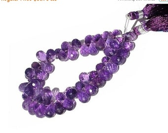 55% OFF SALE 1/2 Strand - Genuine Purple Amethyst micro faceted teardrop briolettes Size 8x6 - 9x6mm approx
