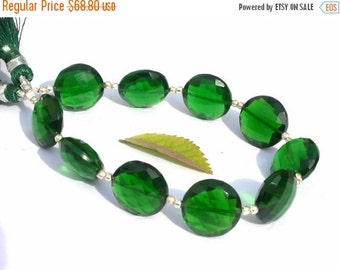 55% OFF SALE 7 Inches - Extremely Beautful AAA Green Quartz Straight Drilled Faceted Coin Beads Size 14x14mm Approx High Quality Great Price