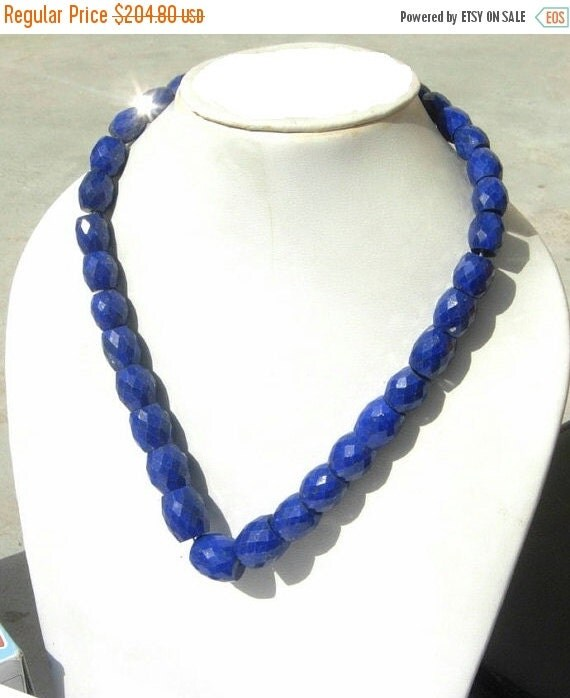 55% OFF SALE Full 16 Inches - AAA Natural Undyed Lapis Lazuli Faceted Puffy Oval or Barrel Beads Size 8x7.5 - 11x9mm approx