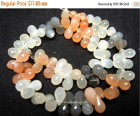 55% OFF SALE Full 8 Inches - Super Finest Natural AAA Multi Moonstone Faceted Tear Drop Briolettes Size 9 - 8mm Approx