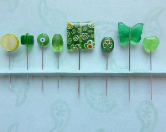 Assortment of Green Straight Pins - Set of 8 Assorted Mixed Sizes and Styles