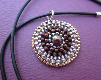 mauve, violet and gold beaded medallion pendant
