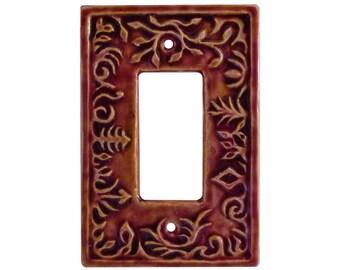 Whimsical Single Rocker Switch Plate in Amber Rose Glaze