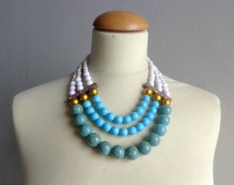 Turquoise colourful chunky necklace modern tribal statement white gold