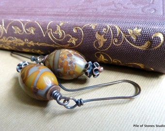 Quiet Bliss* Natural Stone Earrings Organic Rustic Woodland Jewelry Earthy Autumn Color Earrings Grey Brown Mustard Stone & Silver Earrings