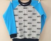 READY TO SHIP shortees remnant raglan crewneck sweatshirt - cars - kids