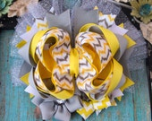 Yellow and grey OTT boutique hairbow girls infant toddler