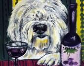 Old English Sheepdog at the Wine Bar Dog Art Tile Coaster gift  JSCHMETZ modern abstract folk pop art AMERICAN ART gift