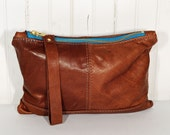 Clutch Bag in Top Grain Saddle Tan Leather Handbag