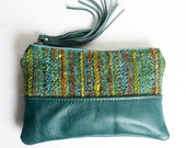 Leather Zip Pouch Bag in Teal Blue Vintage Upholstery Fabric and Teal Blue Genuine Leather Clutch Bag