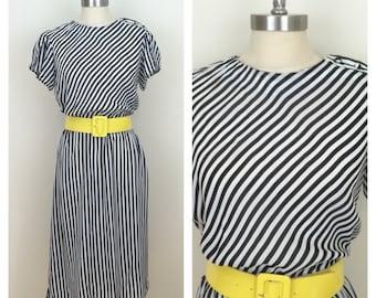 80s Black and White Striped Sheer Midi Dress, Size Medium to Large