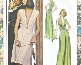 Vintage 1970s Molyneux Evening Dress Pattern - Vogue 1066