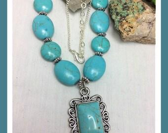 Gemstone #Turquoise #Howlite #Necklace Tibetan Silver #Pendant #Sterling Silver Extender Chain #Boho