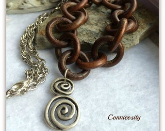 Rare #Boho #Pewter Spiral #Pendant #Wood Link and Chain #Necklace #Adjustable Length #Bohemian Jewelry #Rare #Gypsy #Chic