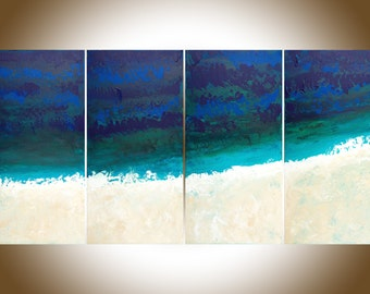 Original Large blue Abstract painting modern abstract Beach painting turquoise shabby chic wall art ocean art wall decor mixed canvas art