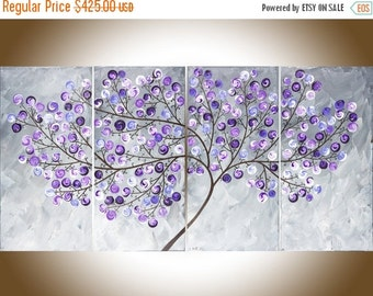 "large wall art canvas Colorful art Gray violet purple swirl leaves tree 48"" Original artwork canvas art ""Lavender Dreams 2"" by qiqigallery"