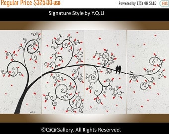 """Valentine's sale - Original art, acrylic painting canvas art Palette Knife love birds tree Wall Art """"Love Is Simple"""" by QiQiGallery"""