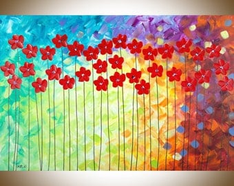 Red flowers painting colorful painting large wall art wall decor Impasto Palette Knife painting by qiqigallery
