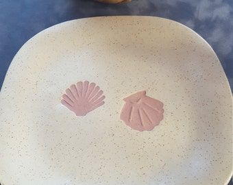 Handmade Ceramic  Square Serving Plate, Ceramic Platter, Sea Shell Plate
