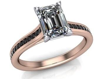 1 Carat Emerald Cut Diamond Engagement Ring, Rose Gold with Black Diamonds